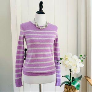 TALBOTS Lavender Striped Pure Cashmere Sweater